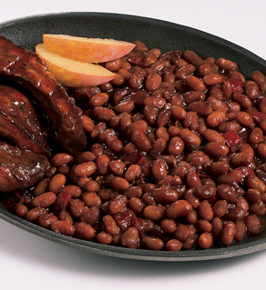 BAKED BEANS IN BBQ SAUCE with SMOKED PULLED PORK