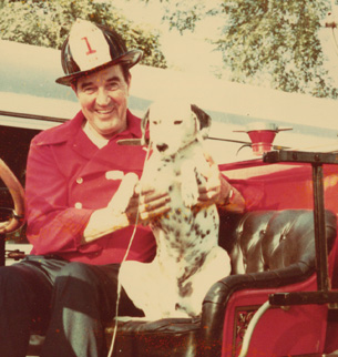 Fireman Captain Ken with his Dalmatian